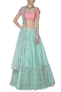 Vvani by Vani Vats Featuring a sky blue lehenga in net base embellished with sequin hand embroidery and mirror borders. It is paired with matching dupatta and baby pink blouse in silk base. Sweet Wedding Dresses, Choli Dress, Green Lehenga, Glamorous Dresses, Lehenga Designs, Pernia Pop Up Shop, Embroidered Jacket, Indian Designer Wear, Indian Outfits