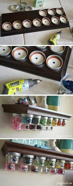 Diy Mason jar holders. I feel like this could work for spices too