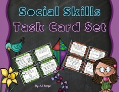 This is a set of 24 social skills themed task cards.  The card topics range from ways to help others, to class rules, to making new friends, to various writing topics, to goal setting, to self reflection, to helping to keep the room clean and organized, etc.