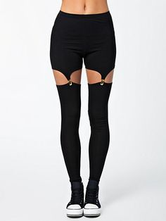 Suspender Pants - Estradeur - Schwarz - Leggings - Kleidung - Frau - Nelly.de Mode Online