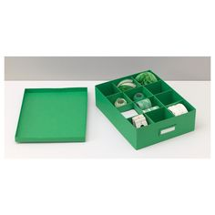 TJENA bölmeli kutu yeşil 27x35x10 cm | IKEA Ardiye Alanları