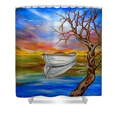 Boat Shower Curtain featuring the painting Repose by Faye Anastasopoulou