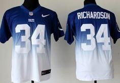 Nike Indianapolis Colts #34 Trent Richardson Blue/White Fadeaway Elite Jersey