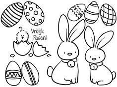 Vrolijk Pasen! Happy Easter. Mix en match jouw krijtstift raamtekening met deze lieve paashaajses, een kuiken net uit het ei en uiteraard de paaseieren!
