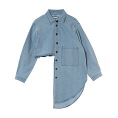 UNBALANCED CUT OUT DENIM SHIRTS ❤ liked on Polyvore featuring tops, cut-out shirts, cut-out tops, blue shirt, shirt top and blue denim shirt