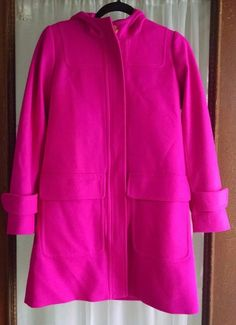 J Crew Stadium Coat Jacket 0 Bright Pink Cashmere Wool Blend Hood Nello Gori #JCrew #BasicJacket #Casual