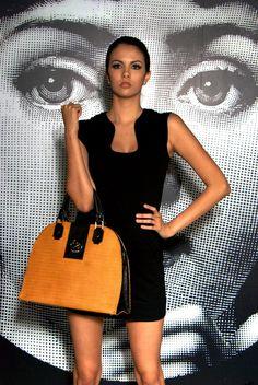 "SCHEDRAUI Dreamer leather handbag - AmarelloBlack    Message: ""Every Day I see my Dream""  www.facebook.com/SchedrauiCompany"