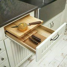 Sliding drawer cutting board shelf