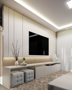 Different TV Background Wall Design Makes The Living Room Look High-end, Atmospheric and Superior - Lily Fashion Style Modern Tv Room, Living Room Modern, Home Living Room, Modern Tv Wall Units, Small Living, Modern Closet, Bedroom Modern, Home Room Design, Home Interior Design