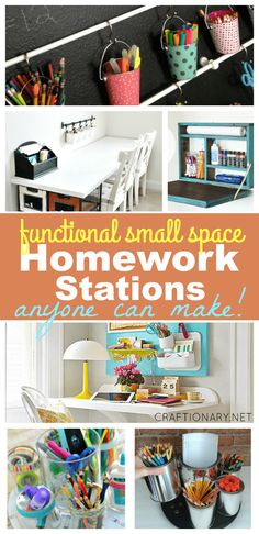 Functional homework stations for small spaces that look great - Craftionary Diy Girlande, Craft Station, Homework Station, Flex Room, Diy Desk, Craft Desk, Craft Space, Kids Room Organization, Desk Areas