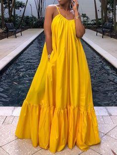 Floor-Length Sleeveless Expansion Plain Dress - Floor-Length Sleeveless Expansion Plain Dress – Erchic Source by nadineyaracosta - African Maxi Dresses, Latest African Fashion Dresses, African Print Fashion, Dress Outfits, Casual Dresses, Fashion Outfits, Summer Dresses, Fashion Heels, Dresses Dresses