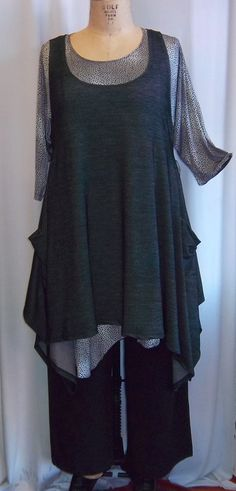 c2a83c10aa5 Coco and Juan Plus Size Top Lagenlook Layering Tunic Top Black Denim Cotton  Lycra Knit Size 2 Fits 3X