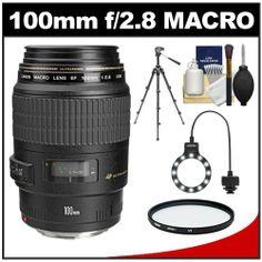 Canon EF 100mm f/2.8 Macro USM Lens with Tripod + UV Filter + Macro Ring Light + Accessory Kit for EOS 60D, 6D, 7D, 5D Mark II III, Rebel T3, T3i, T4i Digital SLR Cameras - http://slrscameras.everythingreviews.net/1291/canon-ef-100mm-f2-8-macro-usm-lens-with-tripod-uv-filter-macro-ring-light-accessory-kit-for-eos-60d-6d-7d-5d-mark-ii-iii-rebel-t3-t3i-t4i-digital-slr-cameras.html
