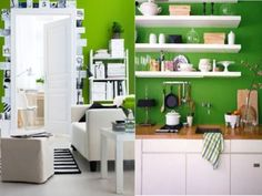 i think i want a Green kitchen- not quite this green, but a lighter but still vibrant enough green, of course with white accents- though not sure about the cleaning aspect. Decor, Living Room Green, Interior, Living Room And Kitchen Design, Green Kitchen, Black Decor, White Rooms, White Walls, Black Interior Design
