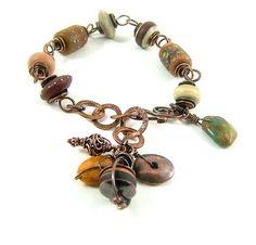Lampwork Copper Bracelet by WillowCreekJewelry