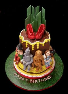 Wizard of Oz Birthday with chocolate shoes!  CakeArt by Margi Chambers