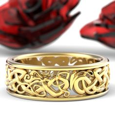 Gold Celtic Dragon Ring, Womens Wedding Band, Mens Wedding Band, Gold or Platinum Dragon Jewelry, Custom Size 1172 Gold Celtic Dragon Ring Damen Ehering Herren Hochzeit Wedding Ring Gold, Celtic Wedding Rings, Celtic Rings, Celtic Knots, Ring Set, Ring Verlobung, Womens Wedding Bands, Wedding Men, Custom Jewelry Design