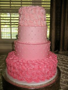 pink ombre rose wedding cake Cheesecake Etc.