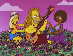 Homer imaging life as a Hippie with long flowing hippie hair.