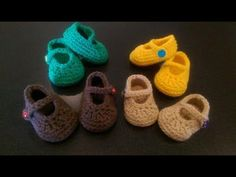 How to crochet easy baby Mary Jane shoes - booties / slippers for beginners - YouTube