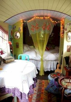 50 Awesome The Gypsy Wagon Interior Ideas, If you've got an idea, we can make it take place. If you're searching for a couple suggestions to present your interior slightly more chutzpah, then t. Interior Trailer, Camper Interior Design, Bohemian Interior Design, Rv Interior, Interior Ideas, Gypsy Wagon Interior, Gypsy Caravan Interiors, Caravan Decor, Caravan Ideas