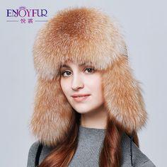 f81b4f3a56c ENJOYFUR Warm Women Winter Hat Earflap Real Fox Fur Patchwork Genuine  Leather Caps With Earflaps Russian Bomber Hats Ushanka  ENJOYFUR   Bomber Hats ...