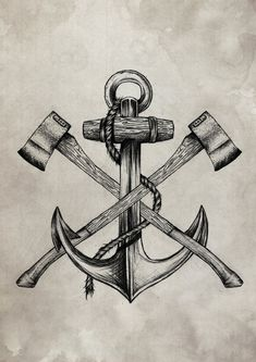Lumberjack vs Sailor by Anderson Alves, Anchor, Tattoo Marine Tattoos, Navy Tattoos, Sailor Tattoos, Navy Anchor Tattoos, Small Anchor Tattoos, Nautical Tattoos, Bild Tattoos, Body Art Tattoos, Sleeve Tattoos