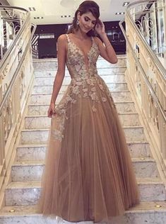 Prom Dress Princess, A-Line Deep V-Neck Champagne Tulle Prom Dress with Appliques Shop ball gown prom dresses and gowns and become a princess on prom night. prom ball gowns in every size, from juniors to plus size. V Neck Prom Dresses, Tulle Prom Dress, Lace Evening Dresses, Homecoming Dresses, Tulle Lace, Long Dresses, Champagne Prom Dresses, Prom Gowns, Party Dresses