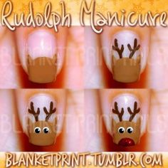 Colors: A-Taupe The Space Needle (OPI), Get In The Expresso Lane (OPI), Superstar! (Pure Ice), Black Lingerie (Revlon), Chancer (Butter London)  Several of you have written in to ask for a basic reindeer nail art tutorial, so here it is! :)  Start by painting a half circle in light brown on your nail. Use a dotting tool or thin paintbrush to add ears in the same color to the top of this half circle. Your reindeer's antlers will go in-between the ears, so make sure the ears are painted far…