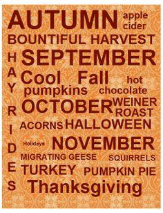 Autumn Subway Art Print-  Home Decor-  Wall Decor- #autumn #fall