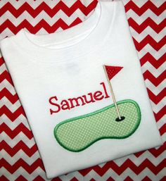 Golf Green Sports Applique Onesie or T Shirt  by Blumers Embroidery, $18.00