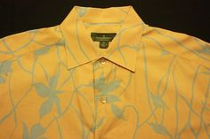 Men's XL Ermenegildo Zegna Orange/Baby Blue 100 % Cotton SS Shirt #ErmenegildoZegna #ButtonFront