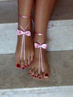 pink barefoot sandles wedding Bikini  Women  Beach  by SibelDesign, $9.90