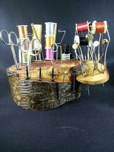 """.A """"rustic"""" style fly tying station. Good for a cabin or other location."""