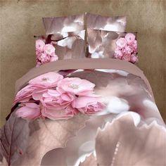 순수한면 3d 핑크 베고니아 꽃 침구 세트 퀸 사이즈 우아한 꽃 이불 커버 침대 시트 베개 4 개 침대 가방