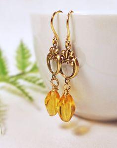 Topaz Art Deco earrings Art Nouveau by BulletsBeadsBaubles on Etsy