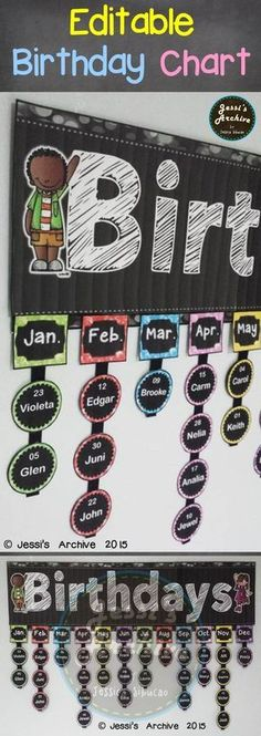 Birthday Chart: Never forget a birthday with this chalkboard themed chart. The header measures 30 inches and the labels are 2 inches wide. If you think it is too big, you may adjust the print percentage to or lower when you print ALL of the pieces. New Classroom, Classroom Setting, Classroom Setup, Classroom Design, Classroom Displays, Kindergarten Classroom, Classroom Birthday Board, Preschool Birthday Board, Birthday Display Board