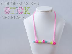 Kids DIY Craft: Color-Blocked Stick Necklace