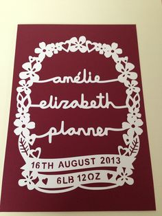 Personalised new baby birth paper cut. www.antdesigngifts.co.uk. #papercut #baby