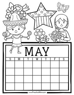 Free set of Calendar for students to Write and Color. This set is super cute and features monthly themes and holidays. Perfect for Preschool Daily Caledar Preschool Calendar, Kids Calendar, Free Printable Calendar, Calendar Pages, Calendar Templates, Calendar Ideas, Adult Coloring Book Pages, Coloring For Kids, Coloring Books