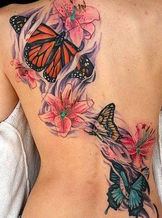 Best Butterfly Tattoo Designs on Back for Girls - Flower tattoos – The Unique DIY Upper Back Tattoos which makes your home more personality. Collect all DIY Upper Back Tattoos ideas on spring tattoo ideas, girls tattoo image to Personalize yourselves. Butterfly Back Tattoo, Butterfly Tattoos For Women, Flower Tattoo Back, Butterfly Tattoo Designs, Flower Tattoos, Butterfly Flowers, Dragonfly Tattoo, Hibiscus Flowers, Blue Butterfly