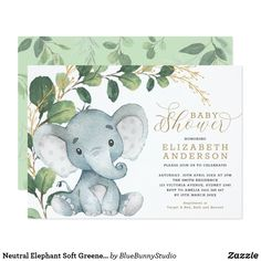 Neutral Elephant Soft Greenery Gold Baby Shower Invitation - animal gift ideas animals and pets diy customize Garden Baby Showers, Gold Baby Showers, Baby Boy Shower, Gender Neutral Baby Shower, Bridal Showers, Baby Shower Elegante, Elegant Baby Shower, Baby Shower Invitaciones, Baby Shower Invitations For Boys