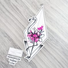 Dotwork watercolor flamingo flower tattoo design #FlowerTattooDesigns
