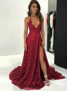 4d1817b50b Burgundy Lace Halter Backless With Side Splits Prom Dresses. PD00262 –  AlineBridal Red Prom Dresses