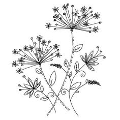 Embroidery Pattern from Penny Black, Inc. Hand Embroidery Patterns, Vintage Embroidery, Embroidery Art, Cross Stitch Embroidery, Embroidery Designs, Flower Embroidery, Doodle Drawings, Doodle Art, Zentangle