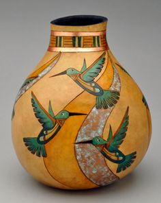 View the materials needed to create a beautiful southwest gourd pot with hummingbirds and patina! Hand Painted Gourds, Decorative Gourds, Vases, Gourds Birdhouse, Arte Popular, Gourd Art, Native Art, Pyrography, Rock Art