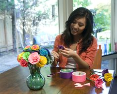 Create the perfect office flower made from duct tape. This easy-to-make craft is a beautiful, simple piece of decor for your home or work space. http://www.duckbrand.com/craft-decor#cat=activity&num=2&type=Flowers&time=All&skill=All?utm_campaign=dt-crafts&utm_medium=social&utm_source=pinterest.com&utm_content=duct-tape-crafts-flowers