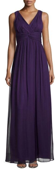 Donna Morgan Sleeveless Empire-Waist Gown, Amethyst