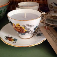 A personal favourite from my Etsy shop https://www.etsy.com/listing/229869371/1960s-bone-china-tea-cup-candle