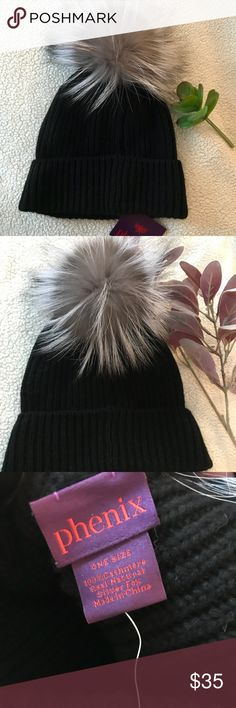 100% Cashmere Pom Pom Beanie 100% Cashmere & Real Natural Silver Fox Black Beanie. Brand new with tags never worn. Originally from Nordstrom. Accessories Hats